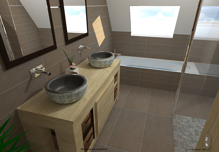 Projet 3d et cr ation d 39 ambiances activ travaux aix sud for Salle de bain ikea 3d