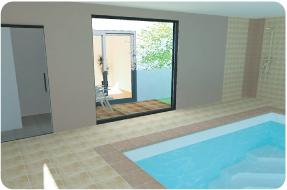 Photo 3D de piscine intérieure