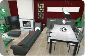 Photo 3D réaliste de salon | salle à manger