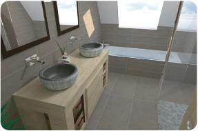 Photo 3D réaliste de salle de bain